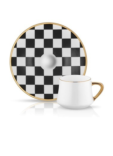 Sufi Türk Kahvesi Set 6'lı Dama Sıyah Beyaz-Koleksiyon